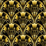 Antique vector seamless shell gold art deco pattern. Geometrical wavy background from golden fan. Stock Images
