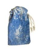 Antique velvet pull-string blue bag Royalty Free Stock Image
