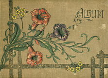 Antique victorian scrapbook album book cover. Antique victorian scrapbook album or photo book cover with flowers Stock Photos