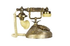 Antique Victorian-Style Rotary French Telephone in Golden Color. Isolated On White Background Royalty Free Stock Image