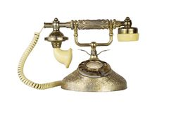 Antique Victorian-Style Rotary French Telephone in Golden Color. Isolated On White Background Stock Photo