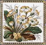 Antique Victorian tile. Victorian period decorative arts printed tile with flowers Stock Photos