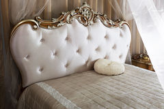 Antique Vintage Bed. Luxury Interior.Antique Vintage Bed Stock Image