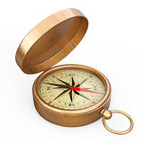 Antique Vintage Brass Compass. 3d Rendering. Antique Vintage Brass Compass on a white background. 3d Rendering Royalty Free Stock Images