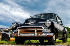 Antique Vintage Chevy. Being restored at body shop Stock Photography