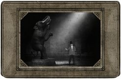 Antique Vintage Circus Card, Elephant, Ringmaster, Fun. Antique vintage circus card with a photograph or illustration of an Indian elephant in the big top tent royalty free stock images