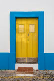 Antique vintage door usual Portuguese home. Stock Photo