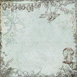 Antique vintage fairy and flowers background. Or scrapbook paper with a victorian style frame of flowers Royalty Free Stock Photos