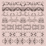 Antique vintage floral ornament set on white background. Vector Royalty Free Stock Photos
