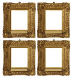 Antique Vintage Gold Frames Set. A set of four identical antique vintage gold painted frames with swirly, decorative edge Royalty Free Stock Photography
