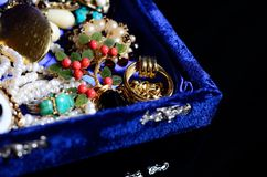 Antique vintage jewelry. In the box stock image