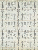 Antique Vintage Keys on ledger paper background