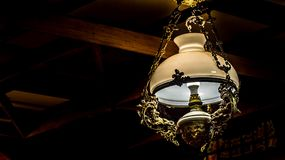 Antique vintage lamp. Hanging on the ceiling Royalty Free Stock Photography