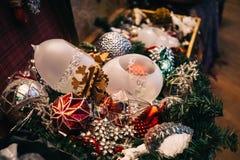 Antique vintage or retro Christmas toys decoration. Background Royalty Free Stock Photos