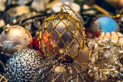 Antique vintage or retro Christmas toys decoration. Background Stock Image
