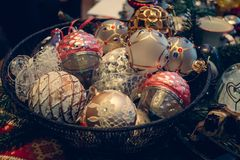 Antique vintage or retro Christmas toys decoration. Background Royalty Free Stock Image