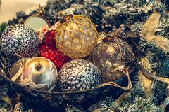 Antique vintage or retro Christmas toys decoration. Background Stock Photo
