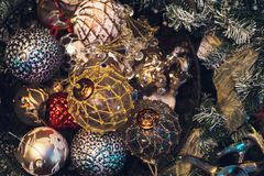 Antique vintage or retro Christmas toys decoration background Royalty Free Stock Photography