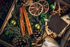 Antique vintage or retro Christmas toys decoration. Background, top view Stock Image