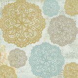 Antique Vintage shabby chic style lace patterned background. In blue and gold do lie Stock Photography