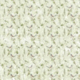 Antique vintage shabby seamless floral repeat pattern with bird Royalty Free Stock Photography