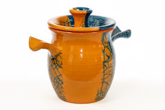 Antique vintage Slavic earthenware jug, timetable national ornam Royalty Free Stock Photos