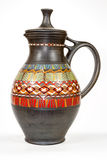 Antique vintage Slavic earthenware jug, timetable national ornament. Royalty Free Stock Image