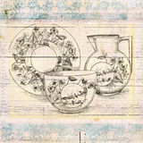 Antique vintage style shabby grungy floral wall art with tea up and jug stock illustration