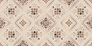 Earth tones seamless pattern, digital watercolor floral mosaic with rose gold square frames stock illustration