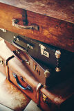 Antique Vintage Trunks and Handles with Locks. Antique Vintage Handles and Locks on an Trunks in a Stack, Toned Picture Royalty Free Stock Photo