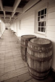 Antique/Vintage Wine Barrels in a long walkway at Royalty Free Stock Photos