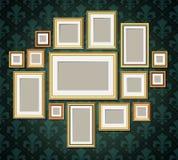 Antique vintage wooden photo frames collection. Retro portrait picture borders Royalty Free Stock Photos
