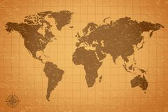 Antique Vintage World Map Illustration. Vintage World Map Vector Illustration Royalty Free Stock Photo