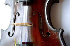 Antique violin, angled view Stock Images