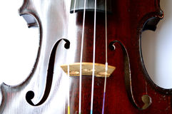 Antique violin closeup, white background Royalty Free Stock Image