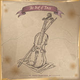 Antique violin hand drawn sketch placed on old paper background. Stock Photos