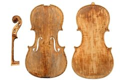 Antique violin restoration stock image