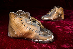 Antique vronzed baby shoes Royalty Free Stock Image