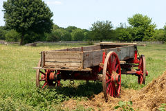 Antique Wagon. Antique farm wagon in a hayfield on a summer day Stock Photos
