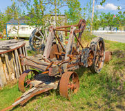 An antique wagon on display at an outdoor museum in northern canada Royalty Free Stock Image
