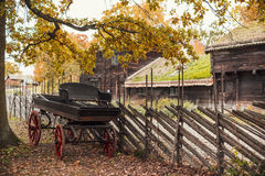 Antique wagon. Under colorful trees in autumn time stock images