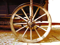 Antique Wagon Wheel. Close-Up of an antique wagon wheel located in a fortress Stock Image