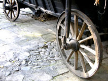 Antique Wagon Wheels. Close-Up of antique wagon wheels located in a fortress Royalty Free Stock Photos