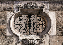 Antique wall architecure detail, grille Stock Image