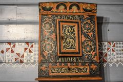 Antique Wall Cabinet with Rosemaling Royalty Free Stock Photos