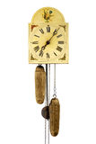 Antique wall clock. Isolated, with iron pendular, made in 1879, (focus on center stock images
