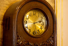 Antique Wall Clock. It is 2 o`clock and 27 minutes. Stock Photos