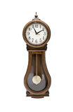 Antique wall clock with pendulum isolated on white Stock Photography