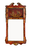 Antique wall mirror with original glass Chinese red laquer. Old antique wall mirror Chinese red laquer painted royalty free stock photos