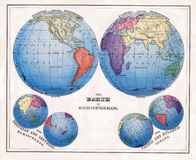 1874 Antique Warren Print of the World in Hemispheres with Polar Projections Royalty Free Stock Photos